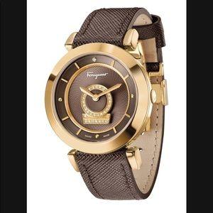 Salvatore Ferragamo Women's leather Diamond Watch